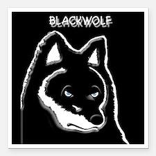 "Black wolf t-shirt Square Car Magnet 3"" x 3"""