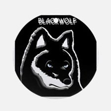 Black wolf t-shirt Round Ornament