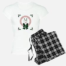 Dot Christmas Wreath Monogram Pajamas