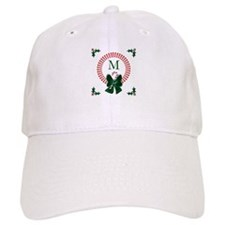 Dot Christmas Wreath Monogram Baseball Cap