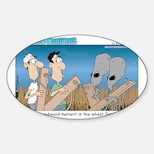 An awkward moment in the wheat fiel Sticker (Oval)