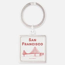 SanFrancisco_10x10_GoldenGateBridg Square Keychain