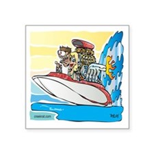 "Creekrat_CARtoons_Drag_Boat Square Sticker 3"" x 3"""