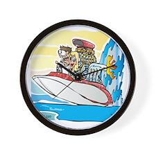 Creekrat_CARtoons_Drag_Boat-S Wall Clock