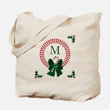 Dot Christmas Wreath Monogram Tote Bag