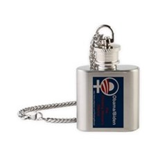 SIDEWAYS Obama The Thinking Womans  Flask Necklace