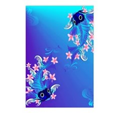 Two Blue Koi PosterP Postcards (Package of 8)