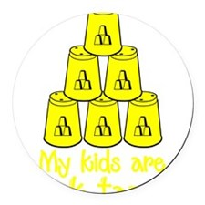 yellow Stack-tacular Round Car Magnet