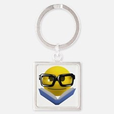 3d-smiley-bookworm Square Keychain