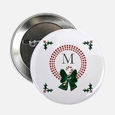 "Dot Christmas Wreath Monogram 2.25"" Button (100 pa"