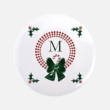 "Dot Christmas Wreath Monogram 3.5"" Button"