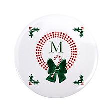 "Dot Christmas Wreath Monogram 3.5"" Button (100 pac"