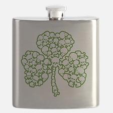 88643 Skulls Shamrock 2012 white green Flask
