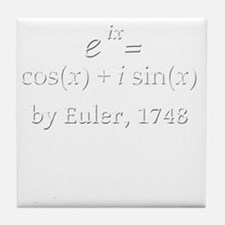 eulersFormula-5-5-whiteLetters copy Tile Coaster