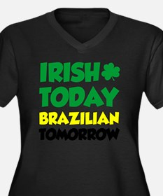 Irish Today  Women's Plus Size Dark V-Neck T-Shirt