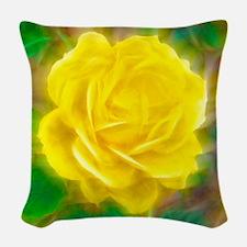 Yellow Rose Woven Throw Pillow