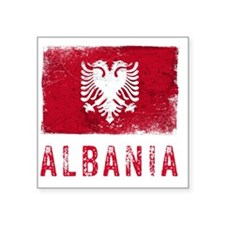 "GrungeAlbania2Bk Square Sticker 3"" x 3"""