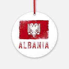 GrungeAlbania2Bk Round Ornament