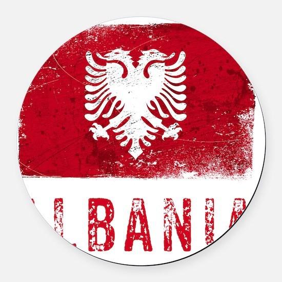 GrungeAlbania2Bk Round Car Magnet