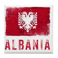 GrungeAlbania2Bk Tile Coaster