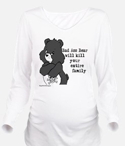 bad ass bear Long Sleeve Maternity T-Shirt