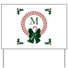 Dot Christmas Wreath Monogram Yard Sign