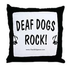 Deaf Dogs Rock Throw Pillow