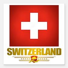 """Switzerland (Flag 10) 2 Square Car Magnet 3"""" x 3"""""""