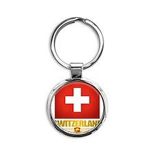 Switzerland (Flag 10) 2 Round Keychain