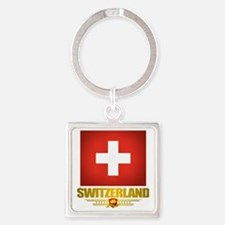 Switzerland (Flag 10) 2 Square Keychain