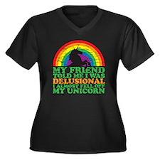 UNicorn copy Women's Plus Size Dark V-Neck T-Shirt