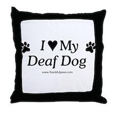 Love My Deaf Dog Throw Pillow