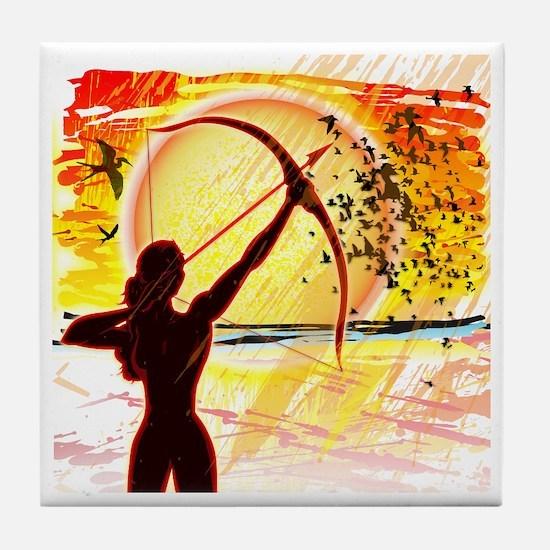 Katniss Radiant as The Sun Tile Coaster