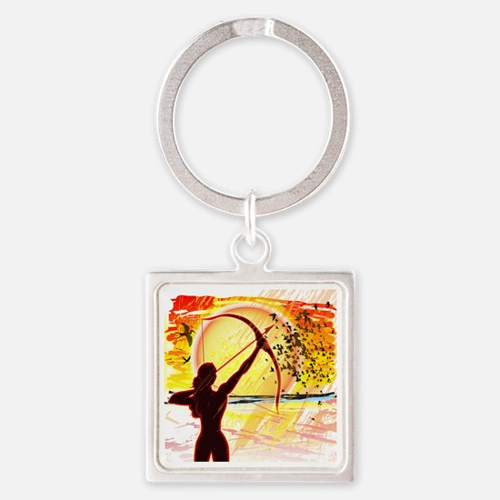 Katniss Radiant as The Sun Square Keychain