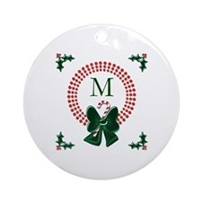 Dot Christmas Wreath Monogram Ornament (Round)