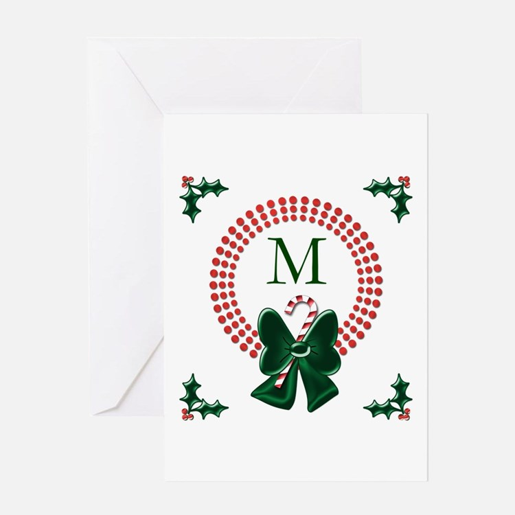 Dot Christmas Wreath Monogram Greeting Cards
