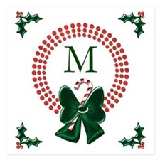 Dot Christmas Wreath Monogram Invitations