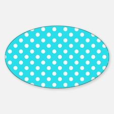 teal-polkadot-laptop-skin Sticker (Oval)
