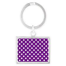 purple-polkadot-laptop-skin Landscape Keychain