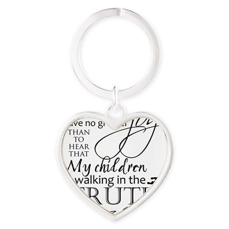 3John1:4---MyChildrenWalkinTruth Heart Keychain