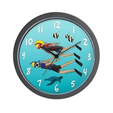 Scuba Scene Couple (blonde) Wall Clock
