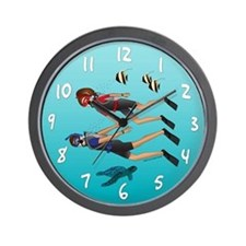 Scuba Scene Couple (brunette) Wall Clock