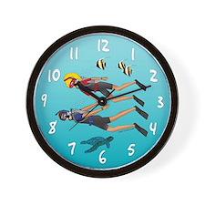 Scuba Scene Couple (blonde/brunette) Wall Clock