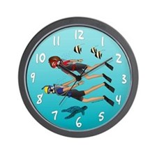 Scuba Scene Couple (brunette/blonde) Wall Clock