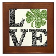 love_shamrock_black Framed Tile