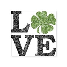 "love_shamrock_black Square Sticker 3"" x 3"""