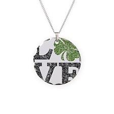 love_shamrock_black Necklace Circle Charm