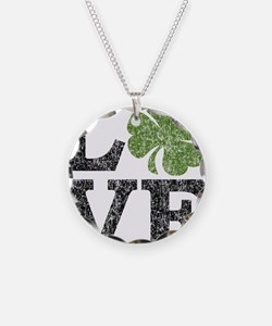 love_shamrock_black Necklace Circle Charm