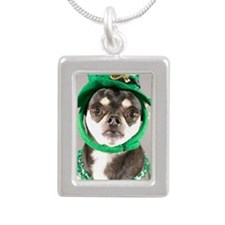 St. Patricks Day Dog Silver Portrait Necklace