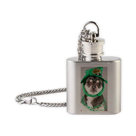 St. Patricks Day Dog Flask Necklace